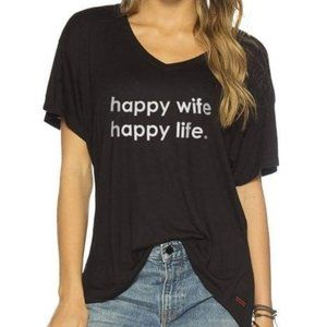 "NWT Peace Love World ""Happy Wife Happy Life"" T XS"